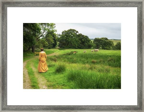 Medieval Lady With Sheep Framed Print