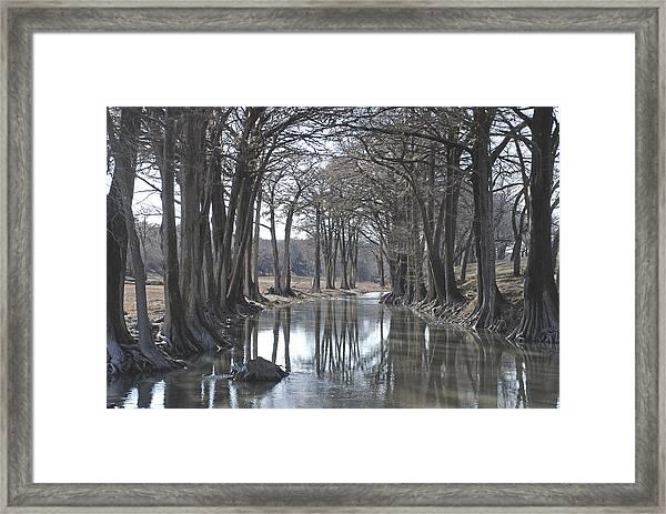Medina River In Winter Framed Print
