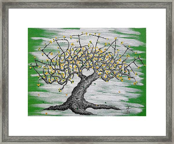 Framed Print featuring the drawing Meditate Love Tree by Aaron Bombalicki