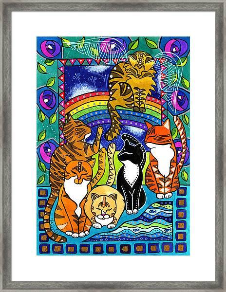 Meet Me At The Rainbow Bridge - Cat Painting Framed Print