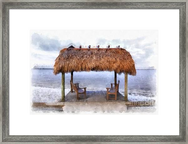 Meet Me Under The Chickee Hut Framed Print