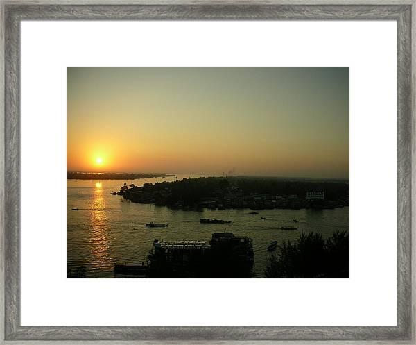 Mekong River Morning Sanrise Traffic Framed Print