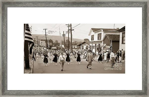Memorial Day Parade Ashley Pa With Train Station And The Huber Colliery In Background 1955 Framed Print
