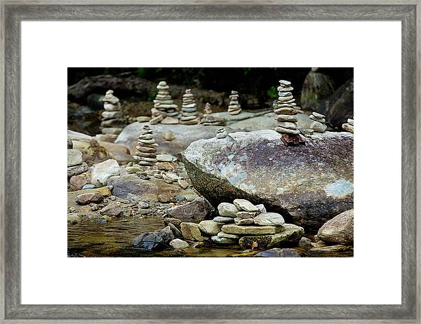 Memorial Stacked Stones Framed Print
