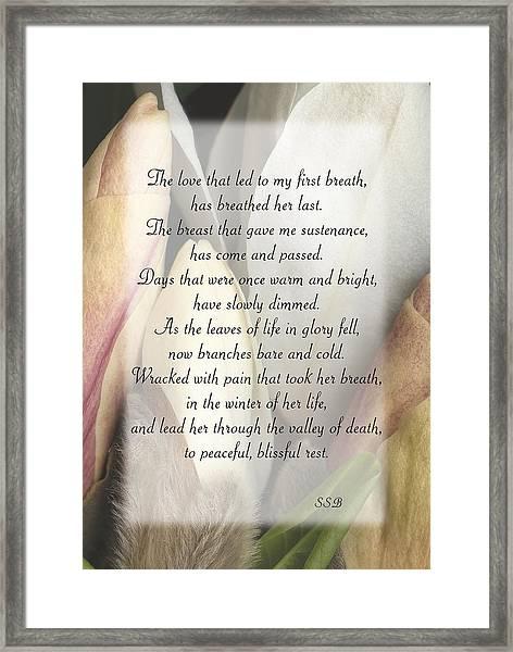 Memorial To Mom Framed Print