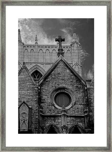 Memphis Cross In The Clouds Bw Framed Print