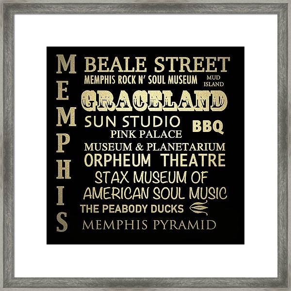 Memphis Tennessee Famous Landmarks Framed Print