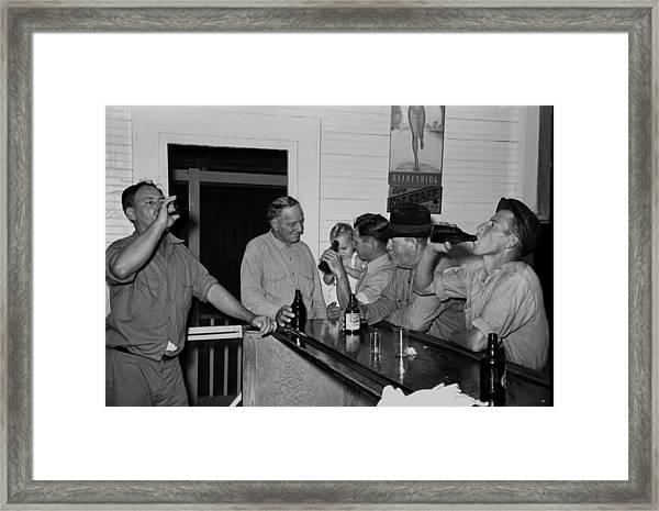 Men Drinking Beer At The Bar Framed Print