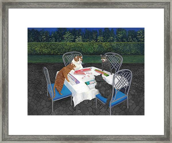 Meowjongg - Cats Playing Mahjongg Framed Print