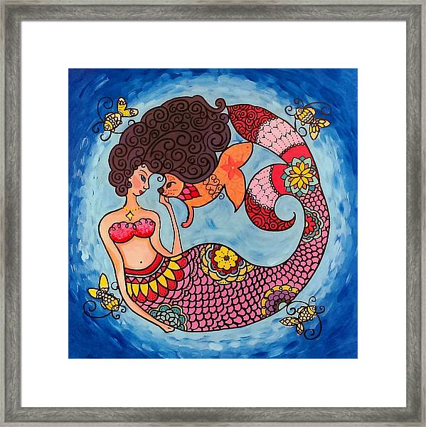 Mermaid And Catfish Framed Print