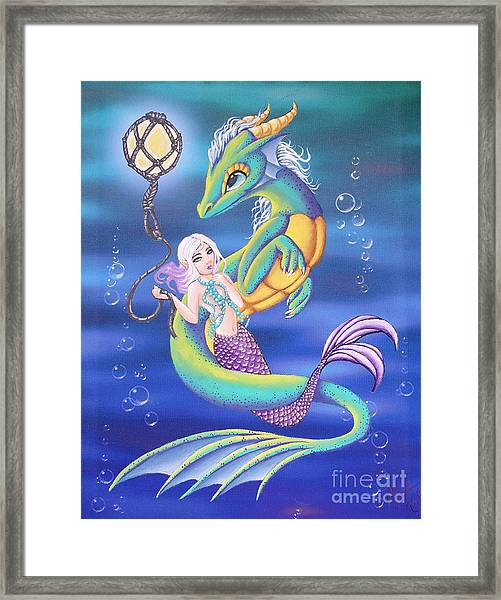 Mermaid And Sea Dragon Framed Print
