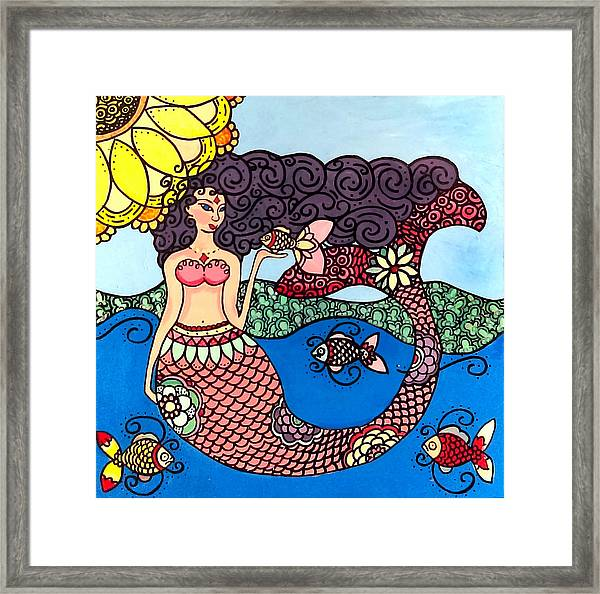 Mermaid With Fish Framed Print