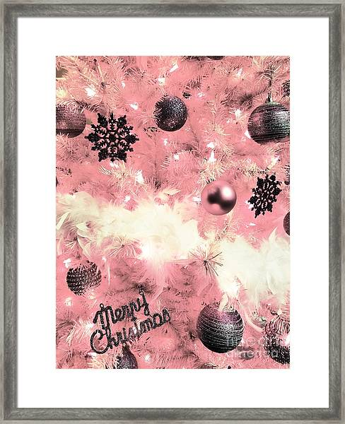Merry Christmas In Pink Framed Print