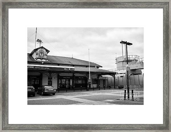mersey ferries woodside ferry terminal and u-534 uboat story museum Liverpool Merseyside UK Framed Print