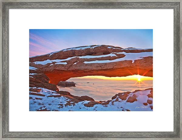 Mesa Arch And Winter Inversion Framed Print
