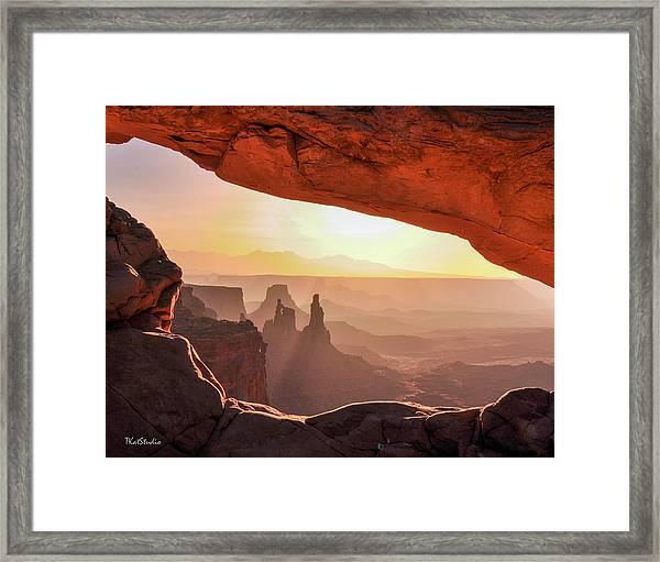 Mesa Arch At Sunrise, Washer Woman Formation , Canyonlands National Park, Utah Framed Print