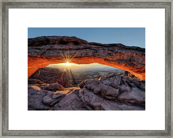 Mesa Arch Sunburst By Olena Art Framed Print