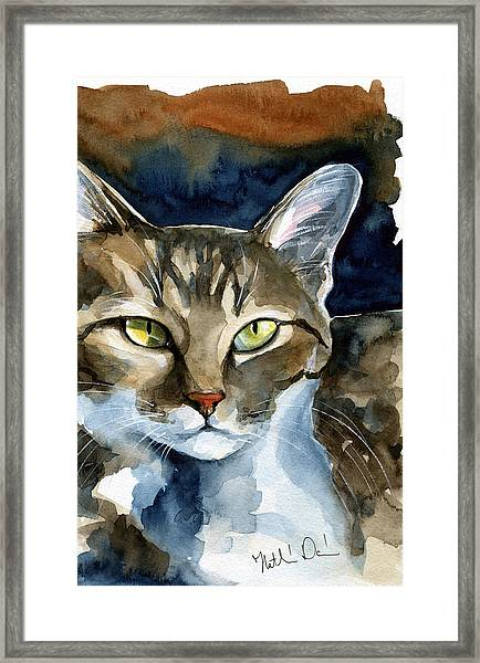 Mesmerizing Eyes - Tabby Cat Painting Framed Print