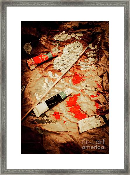 Messy Painters Palette Framed Print