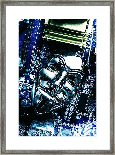 Metal Anonymous Mask On Motherboard Framed Print