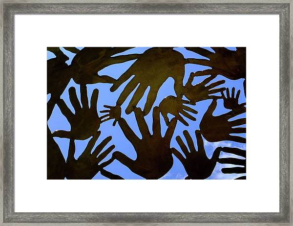 Metal Hands All Over The Place In Orlando Florida Framed Print