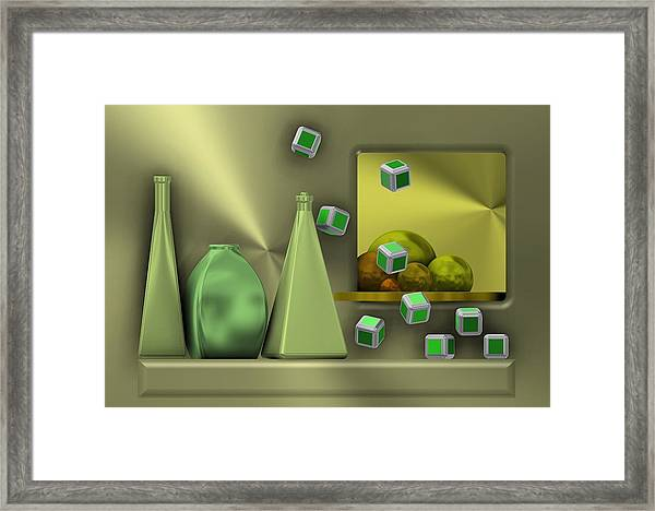 Metalic Still Life With Cubes Flying Framed Print