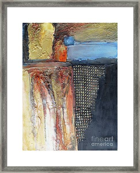 Metallic Fall With Blue Framed Print