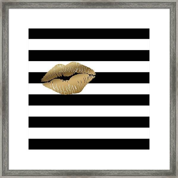 Metallic Gold Lips Black And White Stripes Framed Print