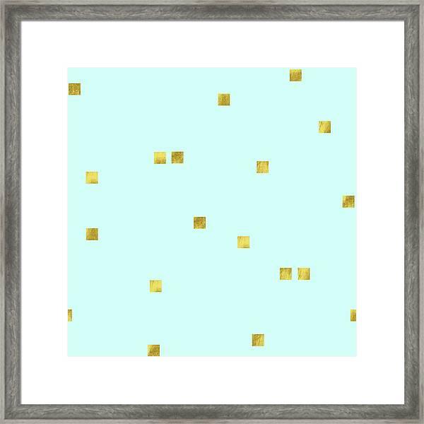 Metallic Square Confetti Print, Gold Squares On Aqua Framed Print