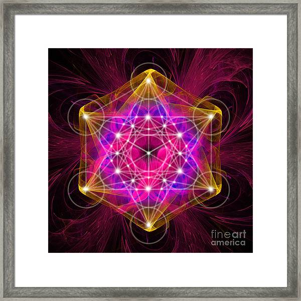 Metatron's Cube With Flower Of Life Framed Print