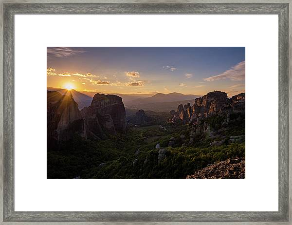 Framed Print featuring the photograph Meteora Sunset by Nikos Stavrakas