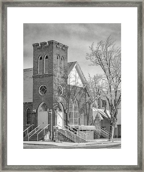 Methodist Church In Snow Framed Print by The Couso Collection