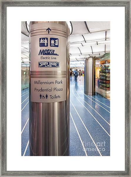 Metra Electric Line Column Sign Framed Print