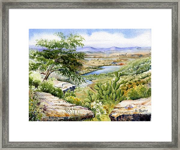 Mexican Landscape Watercolor Framed Print