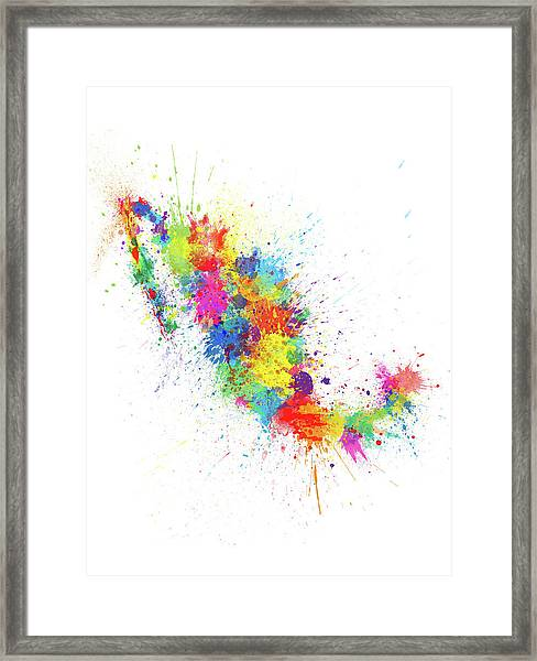 Mexico Paint Splashes Map Framed Print