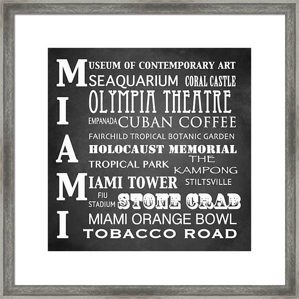 Miami Famous Landmarks Framed Print