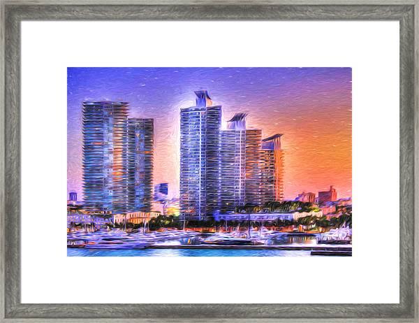 Miami Skyline Sunrise Framed Print