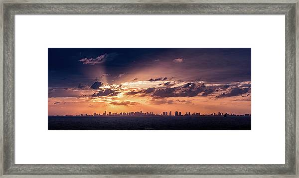 Miami Sunset Pano Framed Print