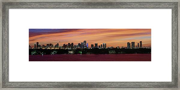 Miami Sunset Panorama Framed Print
