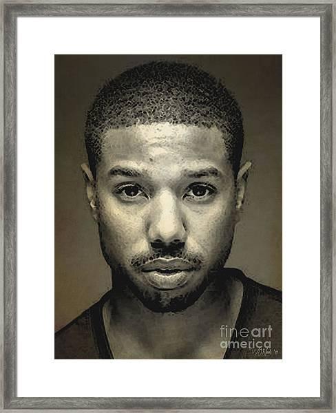 A Portrait Of Michael B. Jordan Framed Print
