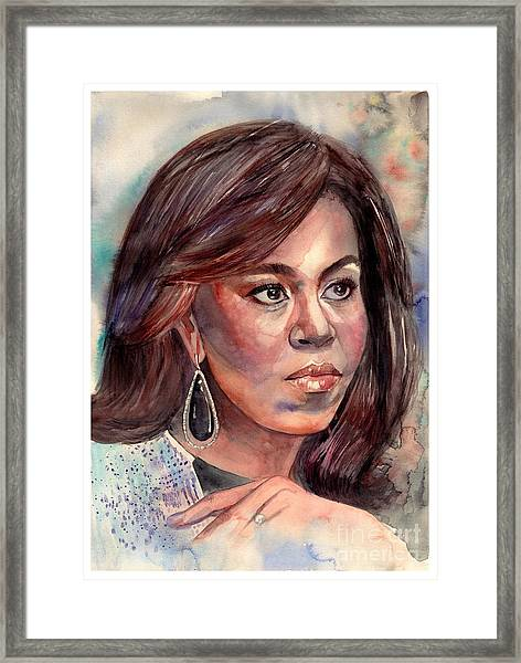Michelle Obama Portrait Framed Print