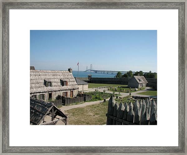 Michilimackinac And Mackinac Bridge Framed Print