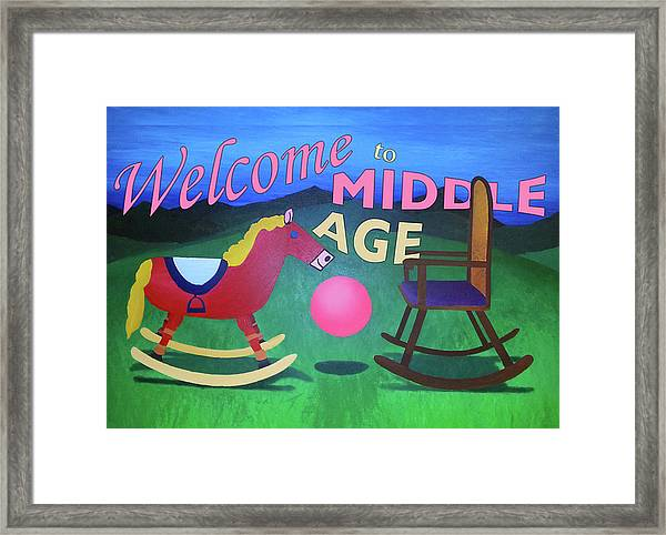 Middle Age Birthday Card Framed Print