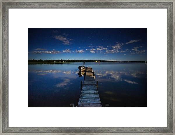 Midnight At Shady Shore On Moose Lake Minnesota Framed Print