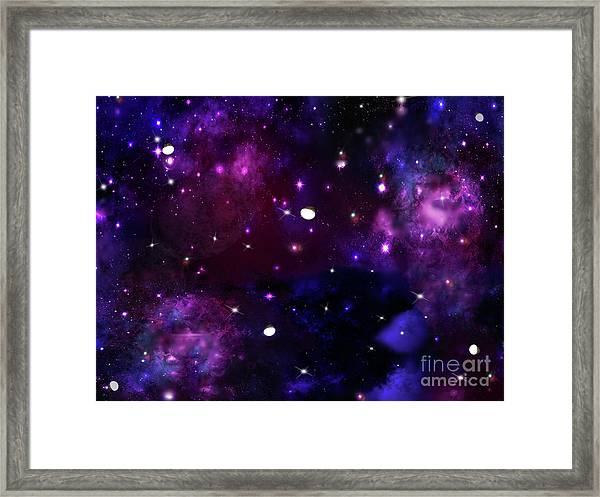 Midnight Blue Purple Galaxy Framed Print