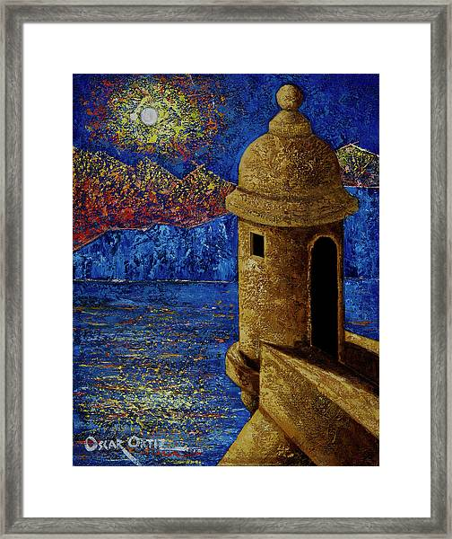 Framed Print featuring the painting Midnight Mirage In San Juan by Oscar Ortiz