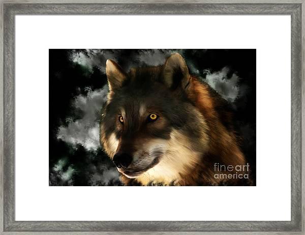 Midnight Stare - Wolf Digital Painting Framed Print
