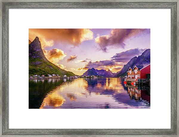 Midnight Sun Reflections In Reine Framed Print