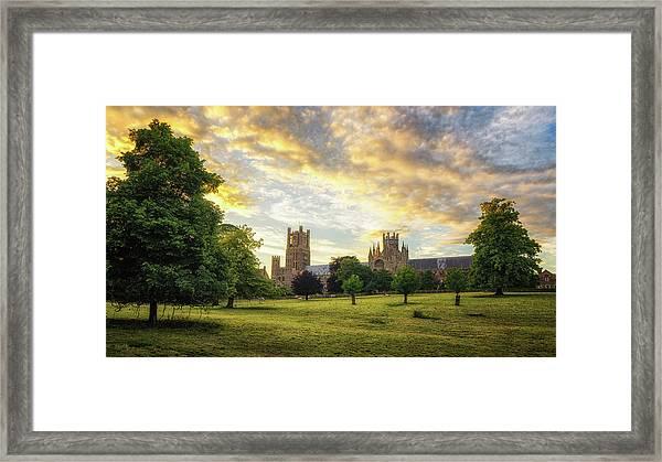 Midsummer Evening In Ely Framed Print