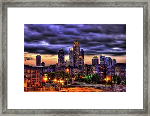 Midtown Atlanta Towers Over Atlantic Commons Art Framed Print